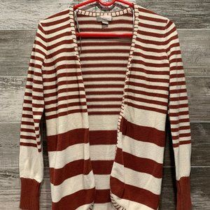 White & Red Striped Cardigan